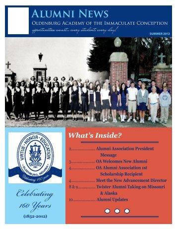 Summer 2012 Alumni Newsletter - Oldenburg Academy