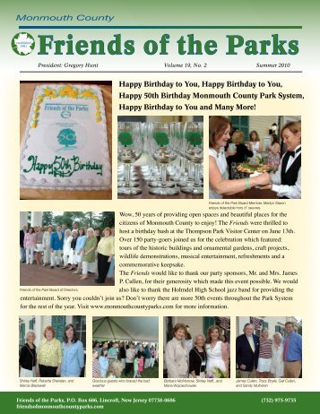 Friends of the Parks - Summer Newsletter - Monmouth County