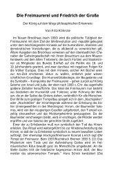 Die Freimaurerei und Friedrich der Große