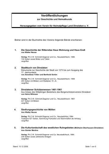 Veröffentlichungen - Verein für Heimatpflege Land Dinslaken eV