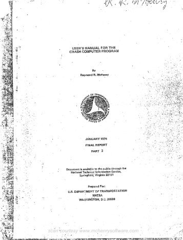 User's Manual for the CRASH Computer Program - McHenry Software
