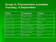 Presentation schedule Tuesday, 4 September - MILE