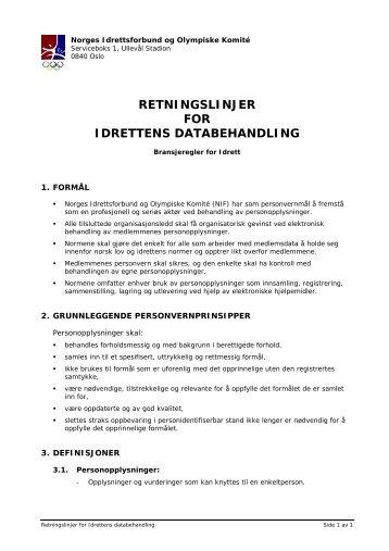 RETNINGSLINJER FOR IDRETTENS DATABEHANDLING