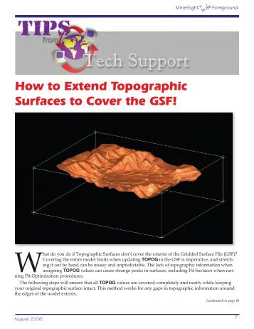 How to Extend Topographic Surfaces to Cover the GSF!