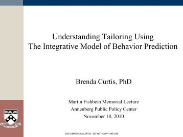 Understanding Tailoring The Integrative Model of Behavior Prediction