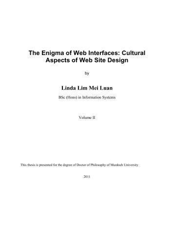 The Enigma of Web Interfaces: Cultural Aspects of Web Site Design