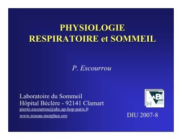 PHYSIOLOGIE RESPIRATOIRE et SOMMEIL - SPLF