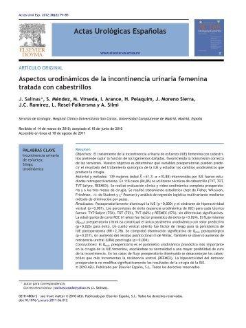 Aspectos urodinámicos de la incontinencia urinaria femenina ...