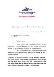 (CARTA MODELO PARA SOLICITAÇÃO DE CONVÊNIO PARA ...