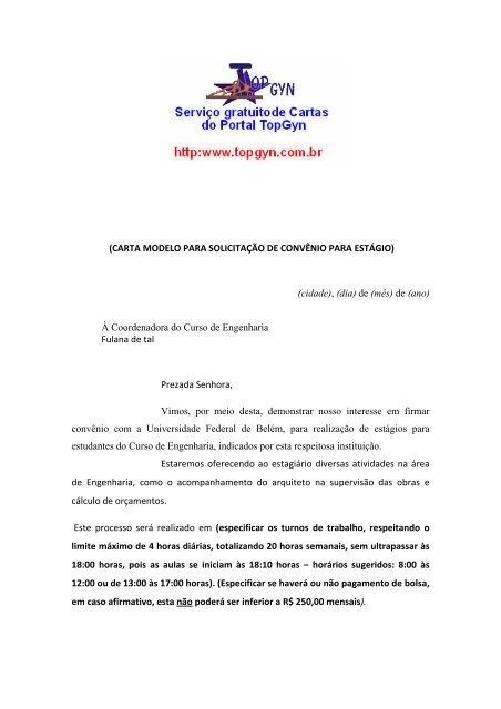 Carta Modelo Para Solicitação De Convênio Para