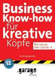 Broschüre kreativ .garage beta