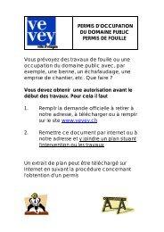 PERMIS D'OCCUPATION DU DOMAINE PUBLIC PERMIS ... - Vevey