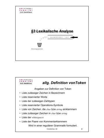 3 Lexikalische Analyse §3 Lexikalische Analyse allg. Definition ...