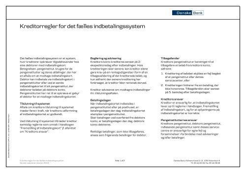 Kreditorregler for det fælles indbetalingssystem - Danske Bank