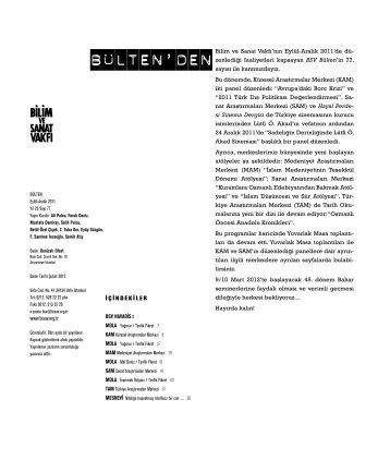 bülten 77 (pdf) - Bilim ve Sanat Vakfı