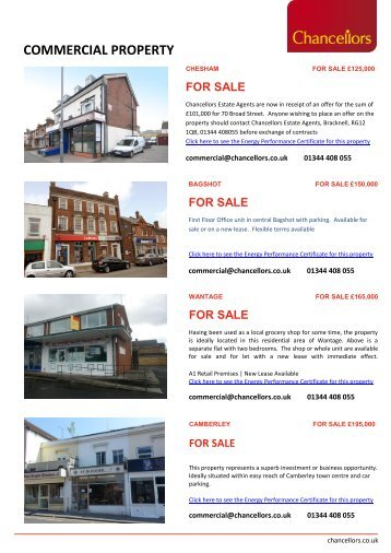 Commercial Property Currently Available – FOR SALE - Chancellors