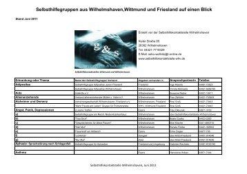 Selbsthilfegruppen aus Wilhelmshaven,Wittmund und Friesland auf ...