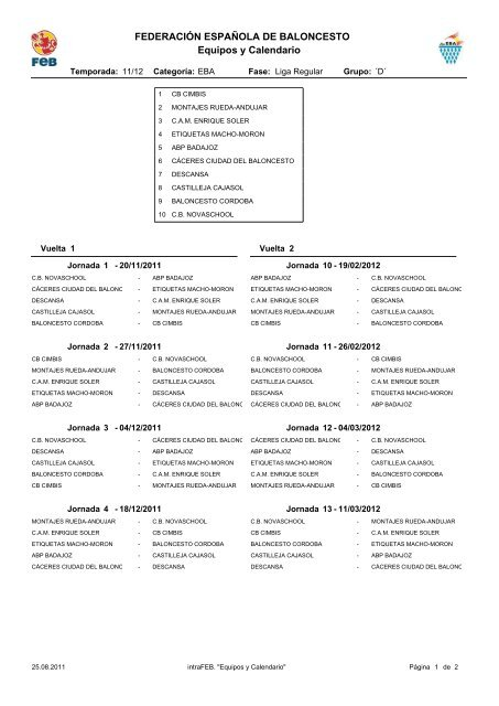 Calendario Liga EBA 2011 - 2012 - Federación Andaluza de ...