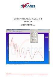 AVASOFT-ThinFilm for AvaSpec-2048 version 7.3 USER'S MANUAL