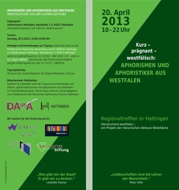 Westfalentag des Aphorismus 2013 - Friedemann Spicker