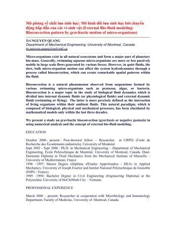 Mô phỏng về chất lưu sinh học: Mô hình đối lưu sinh học bởi chuyển ...