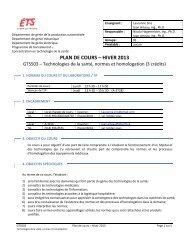 PLAN DE COURS – HIVER 2013 - ÉTS