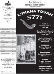 Sept 2010 - Temple Beth Israel