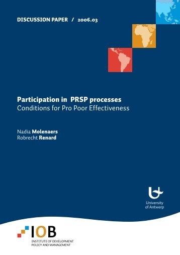 Participation in PRSP processes Conditions for Pro Poor Effectiveness