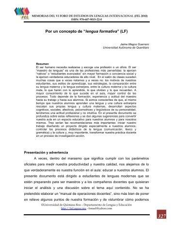 lengua formativa - Foro de Estudios en Lenguas Internacional ...