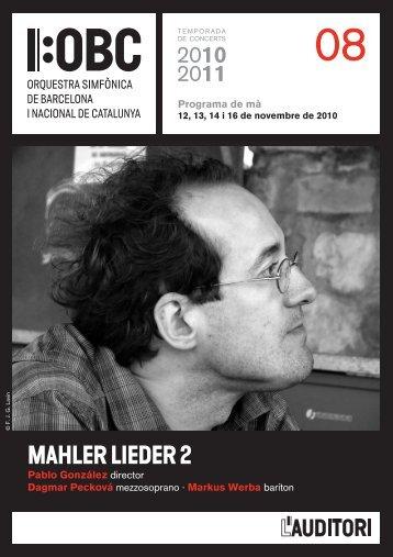 Programa de mà Mahler lieder 2 - L'Auditori