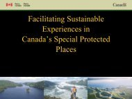 Facilitating Sustainable Experiences in Canada's special places