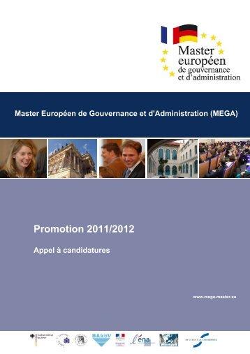Promotion 2011/2012 Appel à candidatures