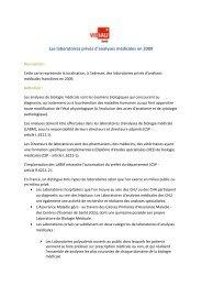 Les laboratoires privés d'analyses médicales en 2009
