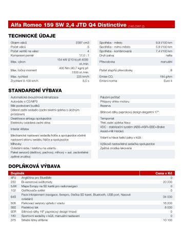 Alfa Romeo 159 SW 2,4 JTD Q4 Distinctive (140.CW7.2)