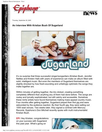 An Interview With Kristian Bush Of Sugarland - Epiphone Musical ...
