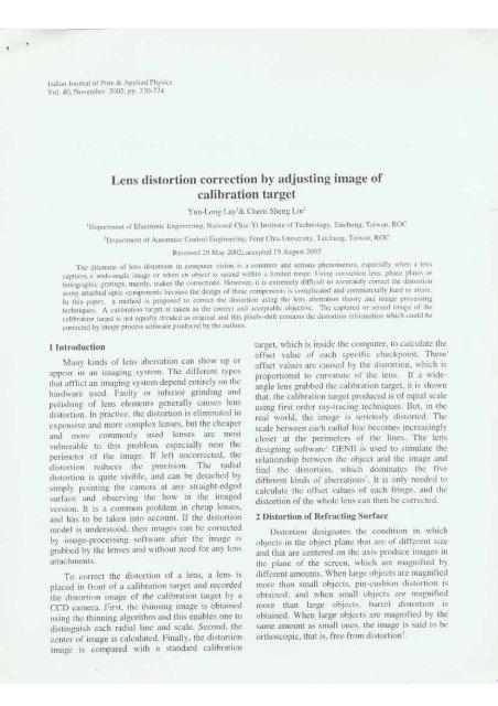 Yun-Long Lay, Chern Sheng Lin, Lens distortion correction by