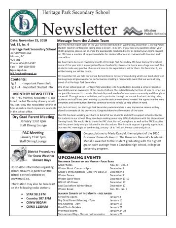 November 2010 newsletter.indd - Heritage Park Secondary School