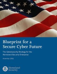 Blueprint for a Secure Cyber Future - Homeland Security