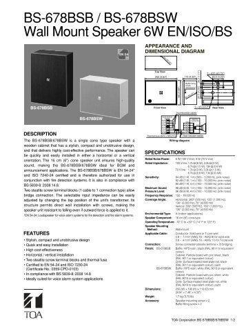 BS-678BSB / BS-678BSW Wall Mount Speaker 6W EN/ISO/BS - Eltek