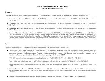 General Fund –June 30, 2008 Report - City of Sandusky