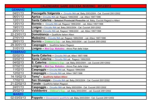 Calendario 2001.Calendario Gare Pdf Intranet