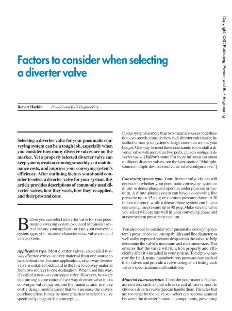 Factors to consider when selecting a diverter valve - Powder