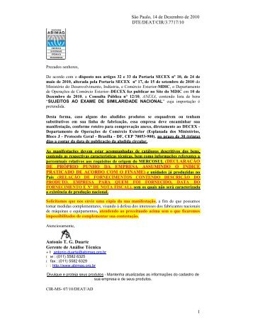 consulta pública nº 12 de 10/12/2010 exame da similaridade - Abimaq