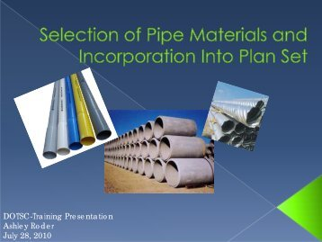 Selection of Pipe Materials and Incorporation into Plan Set