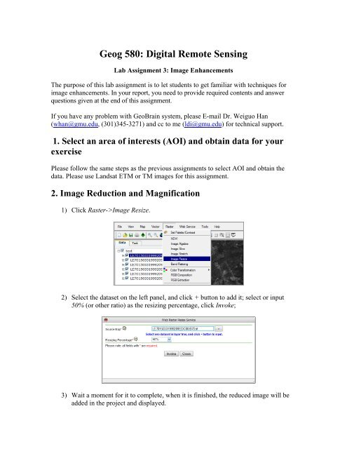 Lab Assignment 3: Image Statistics [pdf] - Geobrain