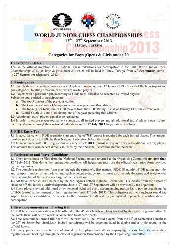 WORLD JUNIOR CHESS CHAMPIONSHIPS - Torneos de Ajedrez