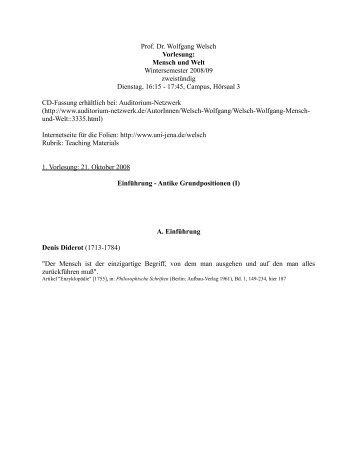 Prof. Dr. Wolfgang Welsch Vorlesung: Mensch und Welt ...
