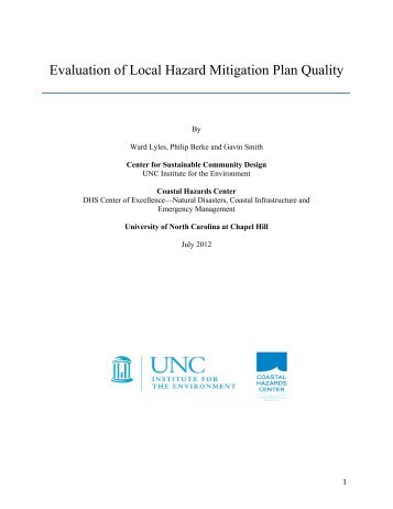 Evaluation of Local Hazard Mitigation Plan Quality - UNC Institute for ...