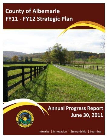County of Albemarle FY11 - FY12 Strategic Plan - Albemarle County