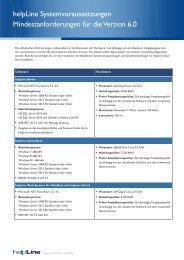 helpLine Systemvoraussetzungen Version 5.4 - helpLine GmbH